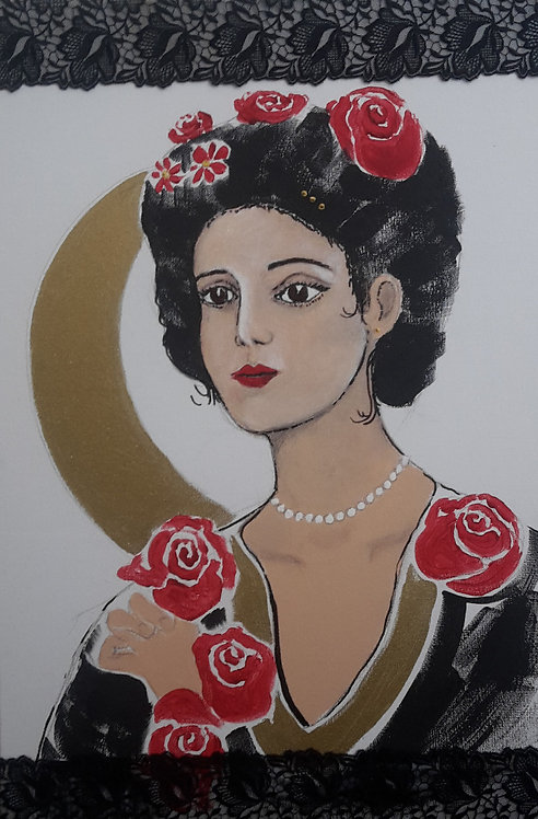 Frauengemälde, Jugendstil, Mond, Rosen, gold, rot, Rosenfrau, Kunst, St. Gallen