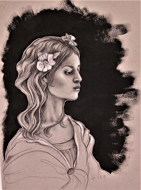 Kunst, Kohle, Zeichnen, St. Gallen, Frauenporträt, Chloris, griechische Mythologie