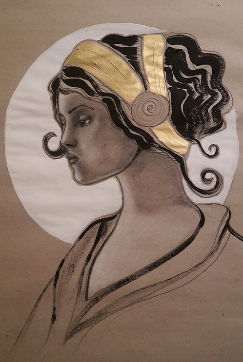 Frauengemälde, Frauenportrait, Plakatmalerei, Jugendstil, Acryl, Kohle, gold, weiss, St. Gallen