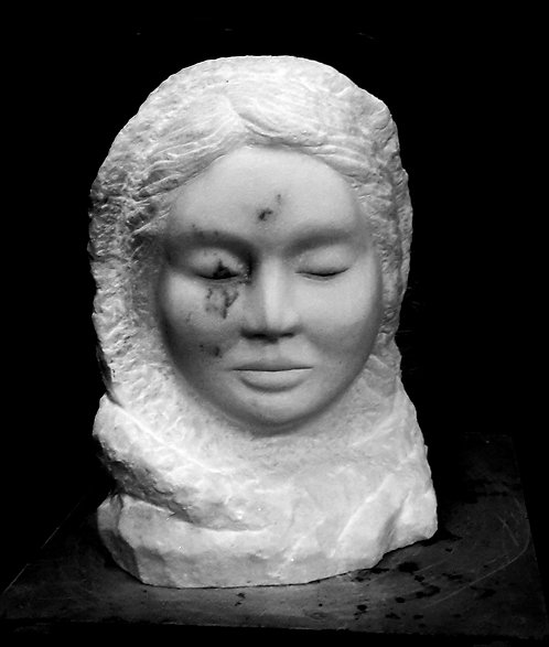 Bildhauerei St.Gallen, Bildhauerarbeit, Carrara Marmor, Frauenkopf, Skulptur, St.Gallen, handgehauen