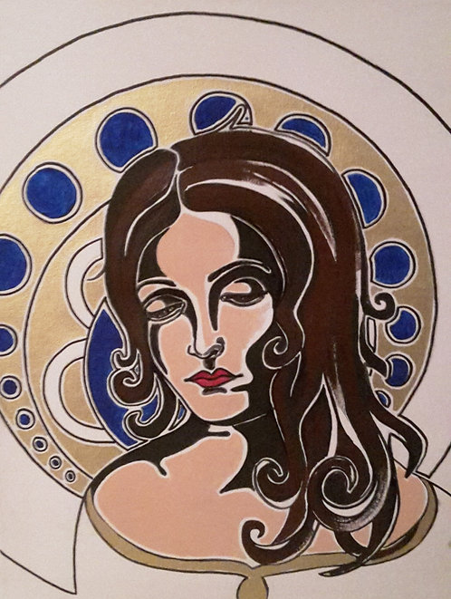 Kunst, Acrylmalerei, Leinwand, St. Gallen, Frauenporträt, Frau, gold, blau, weiss