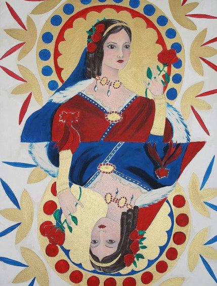 Kunst, Acrylmalerei, Leinwand, St. Gallen, Frauenporträt, Frau, gold, rot, blau, Jasskarte