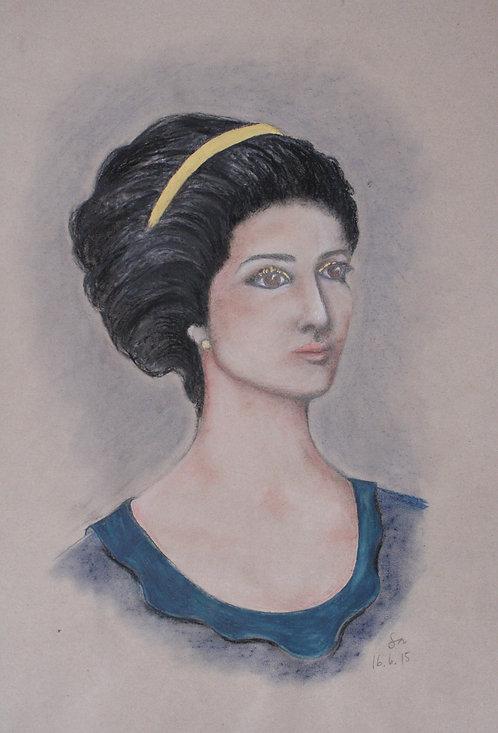 Frauenporträt, Frauengesicht, Zeichnung, Kohleporträt, Kreidezeichnung, Porträtmalerei, St. Gallen