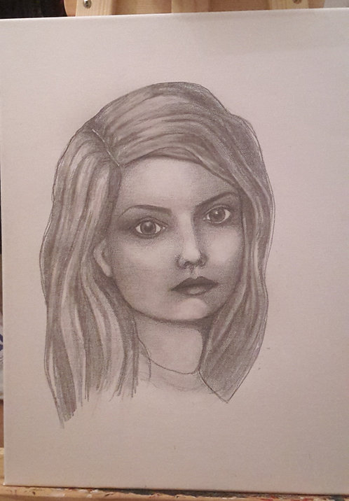 Kunst, Bleistiftporträt, Zeichnung, Leinwand, Frauenporträt, junge Frau, Porträtmalerei, St. Gallen