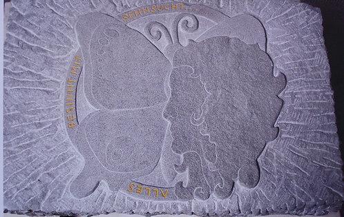 Bildhauerei St.Gallen, Bildhauerarbeit, Sandstein, Sandsteinrelief, Kopf Silhouette, Flachrelief, St.Gallen, Grabstein