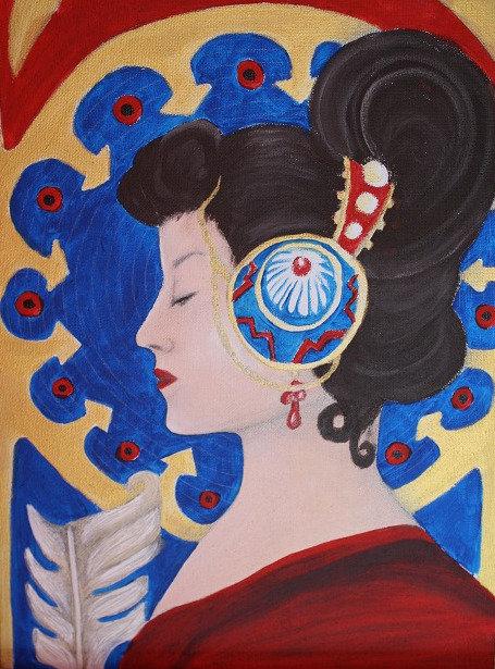 Kunst, Acrylmalerei, Leinwand, St. Gallen, Frauenporträt, Frau, gold, blau, Ornamente