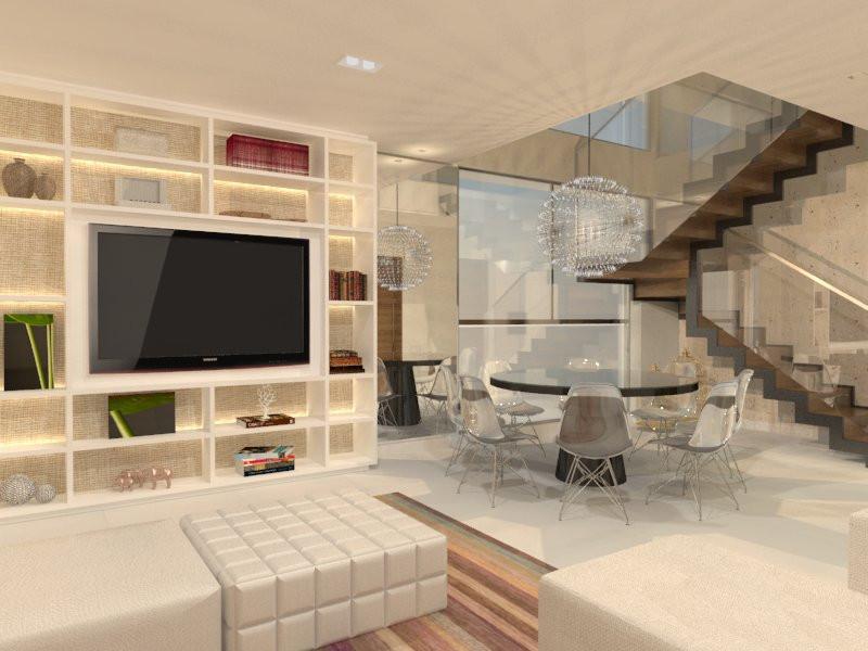 Sala integrada escada escritório Aletheia Westermann Arquitetos Juiz de Fora