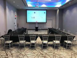 A breakout room with projector