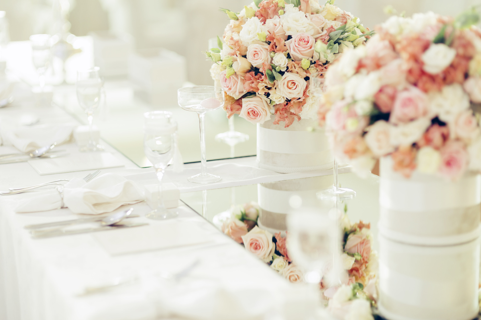 Table settings with centerpieces