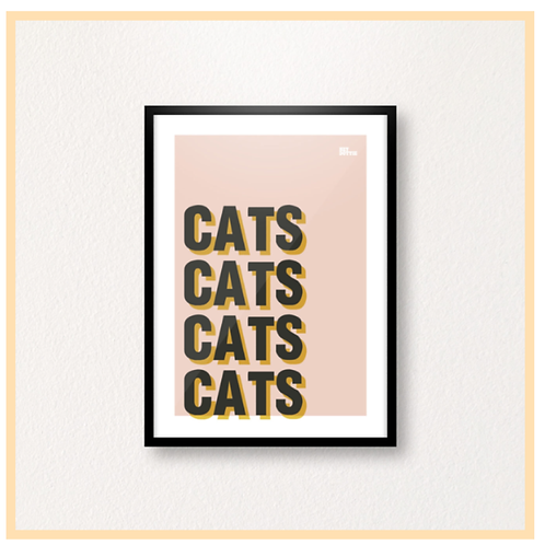 Handmade: CATS CATS CATS CATS, Black On Blush, A4 Print