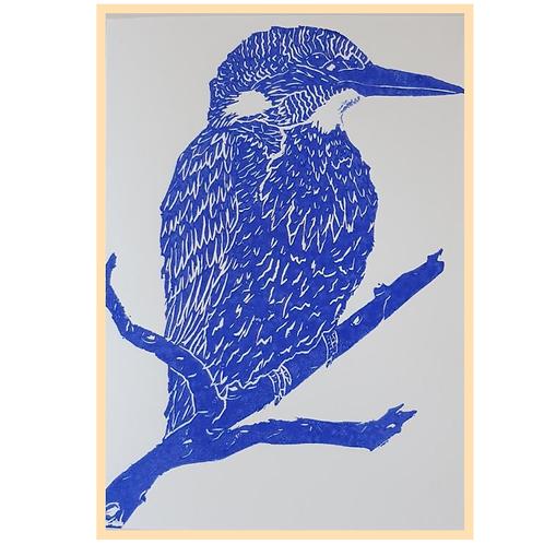 Handmade: Kingfisher Bird Blue Lino Print 5 x 7 Artwork
