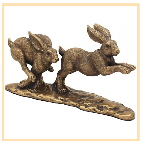 Chasing Hares Bronzed Figure