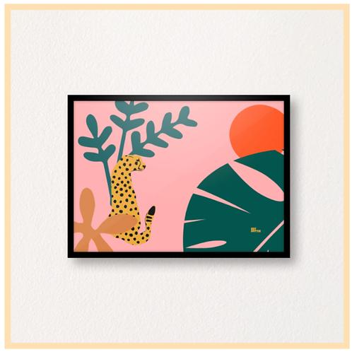 Handmade: Jungle Cat, Pink Botanic A4 Print