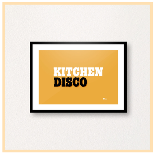 Handmade: Kitchen Disco On Orange, A4 Print