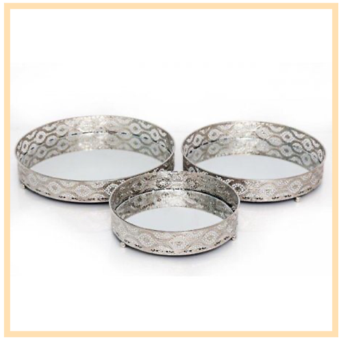 Silver Decorative Candle Plates
