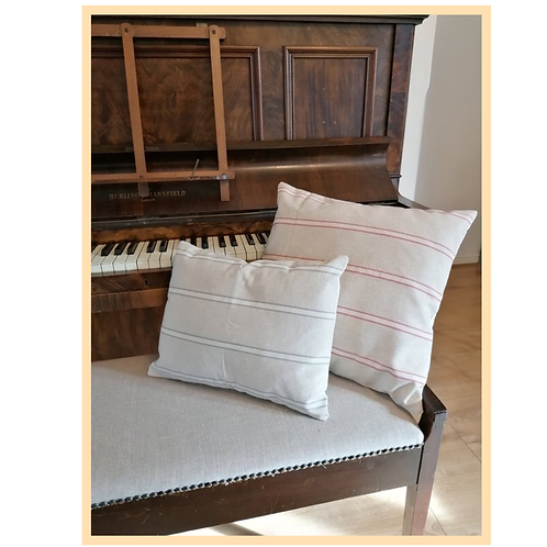 Handmade: French Linen Style Red Stripe Cushion Cover