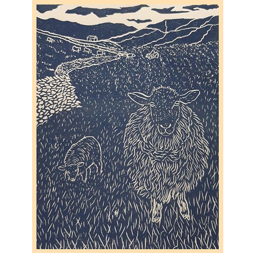 Handmade: On The Farm Hand Printed Original Lino Print A4