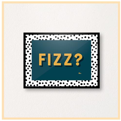 Handmade: FIZZ? Teal & Mustard With Dots, A4 Print