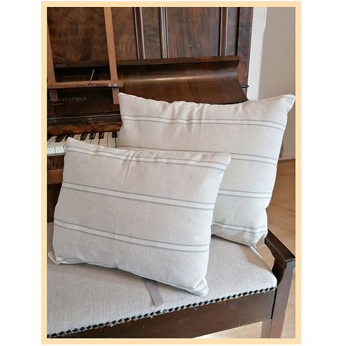 Handmade: French Linen Style Grey Stripe Cushion Cover (Large)