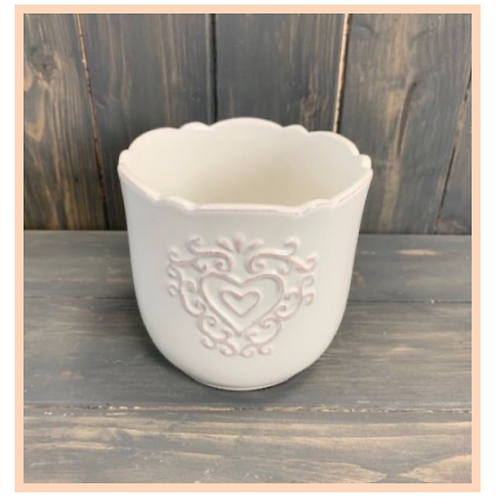 White Ceramic Pot With Heart Decal, 11cm