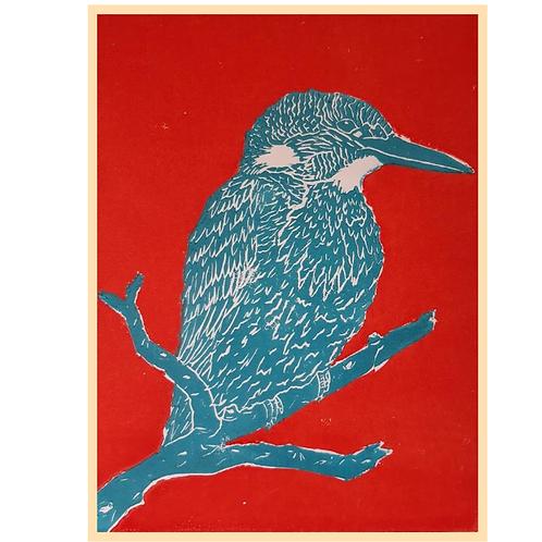 Handmade: Kingfisher Bird Orange and Blue Lino Print Original Artwork