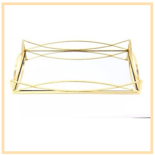 Rectangular Mirror Plate With Gold Trim