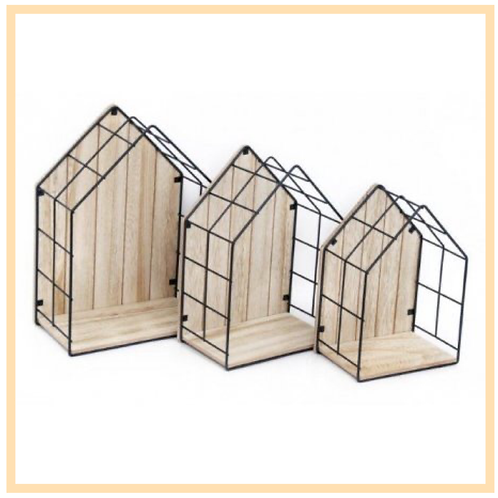 Wood & Wire House Display Units, Set Of 3