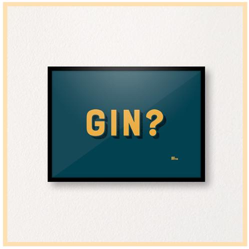 Handmade: GIN? Teal & Mustard, A4 Print