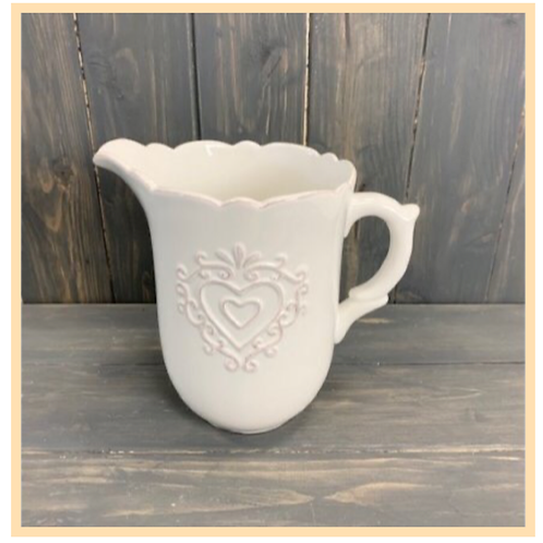 White Ceramic Jug With Heart Decal