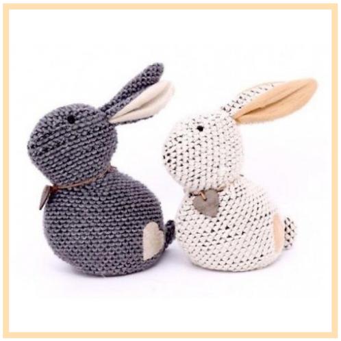 Knitted Bunny Doorstops