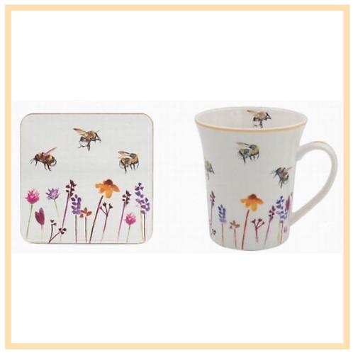 Busy Bee Garden Mug and Coaster