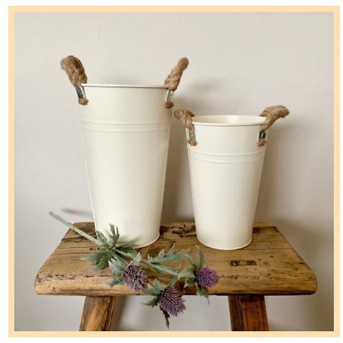 Cream Flower Bucket
