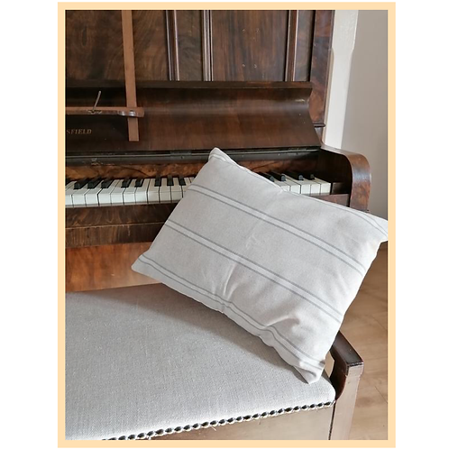 Handmade: French Linen Style Grey Stripe Cushion Cover (Small)