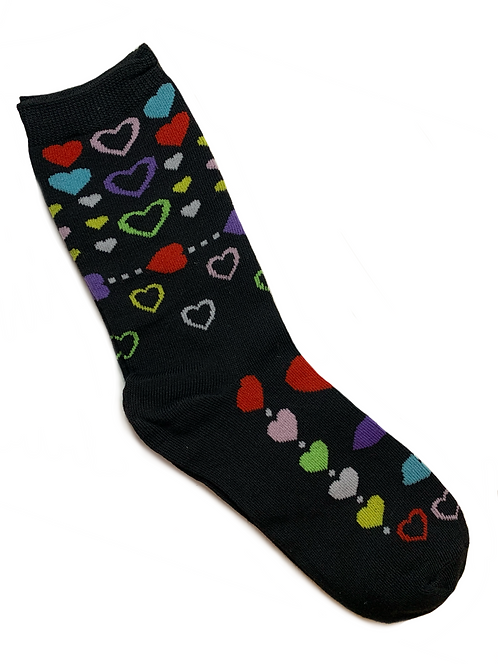 Black, Purple, Neon Green, Neon Yellow, Turquoise, White and Red hearts