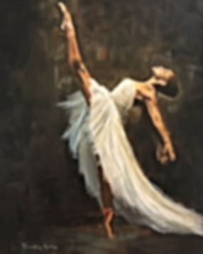 Ballerina geschilderd door trudy arts, realistische kunstschilder