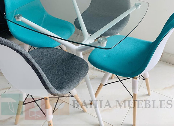 Juego Comedor 4 puestos (Mesa estructura blanca sillas eames)