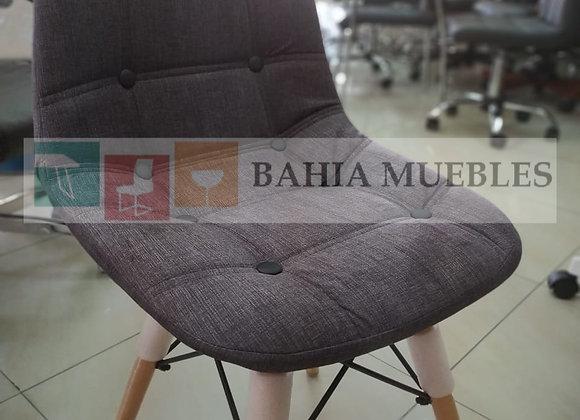 Silla eames tapizada gris botones comedor
