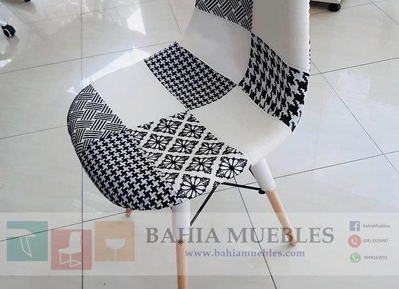 Silla patch negro con blanco