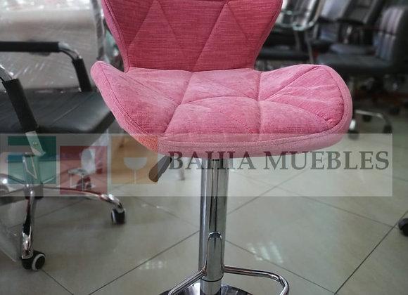 Taburete flor rosada tela