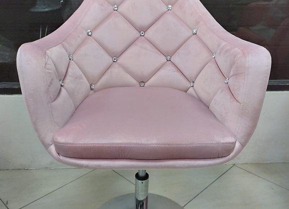 Taburete Diamente velvet color rosado