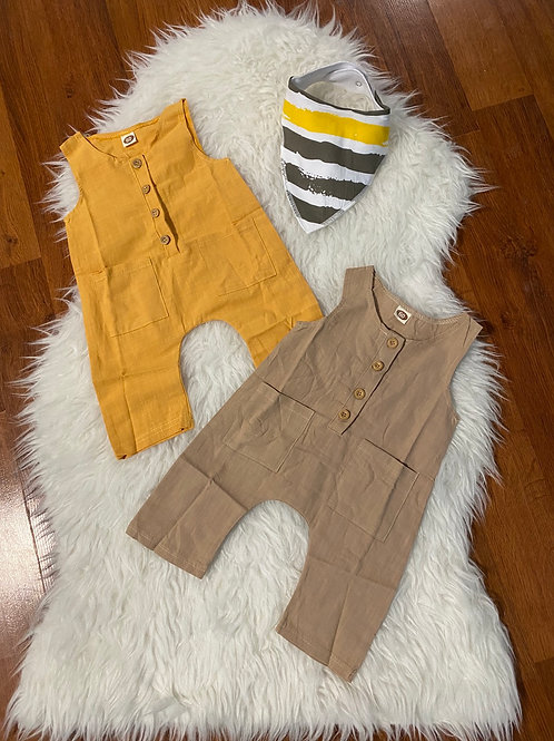 Mustard/Tan Pocket Rompers