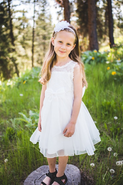 White Front/Back Bow Dress