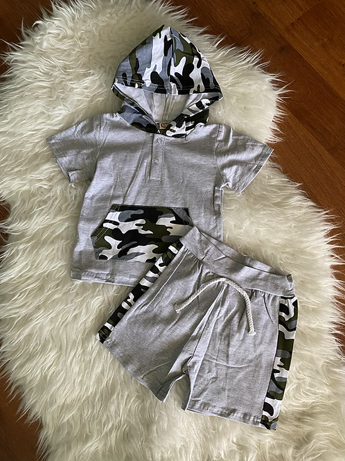 Grey Camo Hooded Outift
