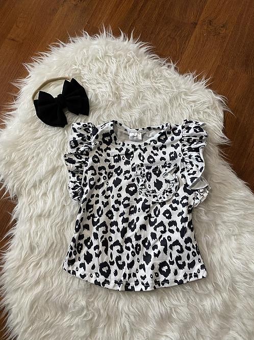 Black/White Ruffled Short Sleeve Shirt