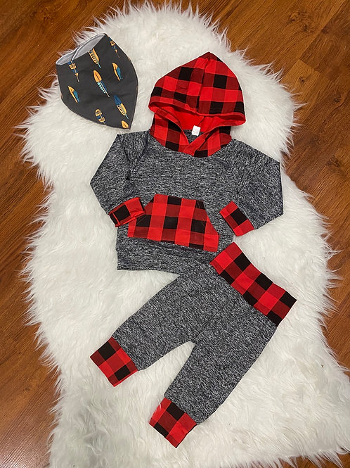 Plaid Accent Grey Sweater Outfit