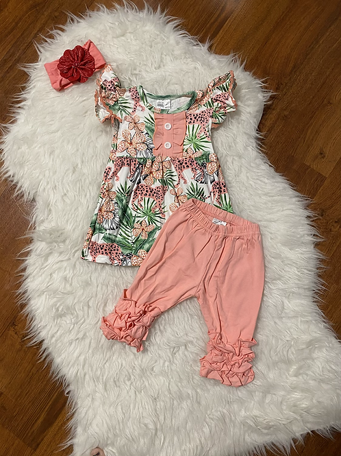 Coral Jungle Capri Outfit
