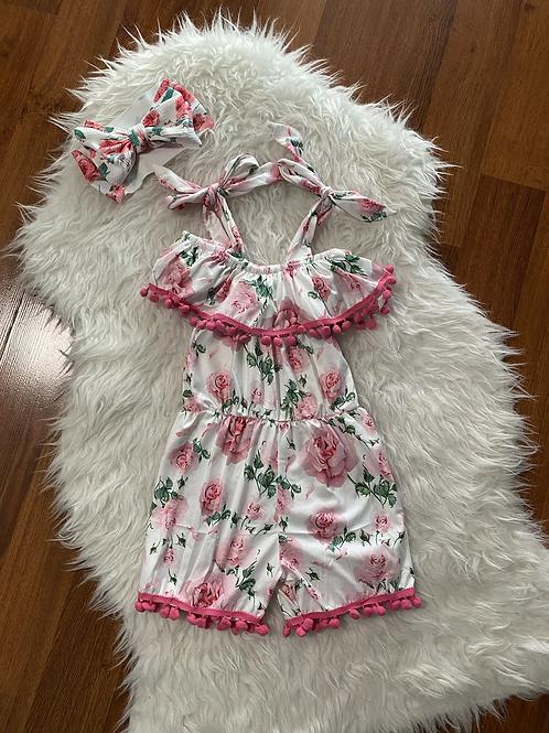 White/Pink Floral Romper