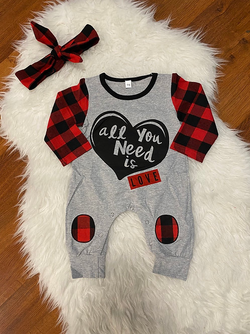 All You Need Is Love Plaid Romper with Headband