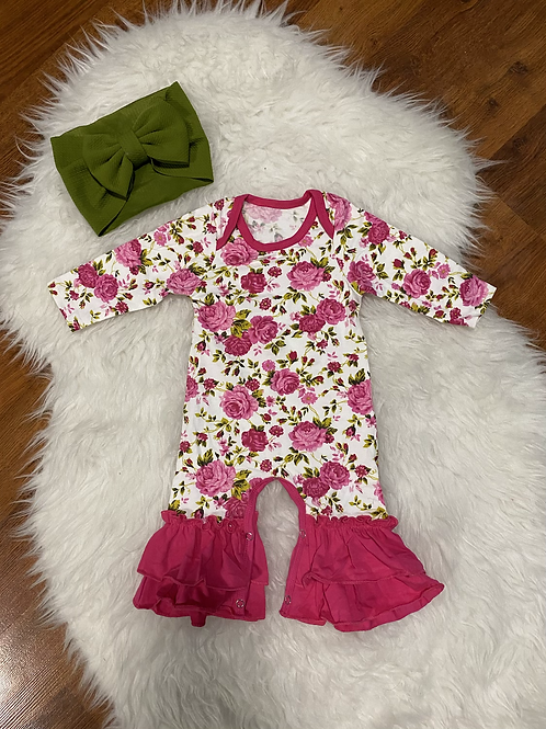 Pink Flower Ruffled Bottom Romper