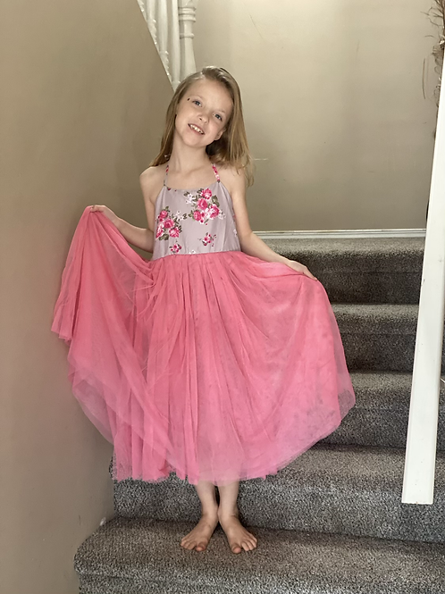 Grey Flower Tutu Dress